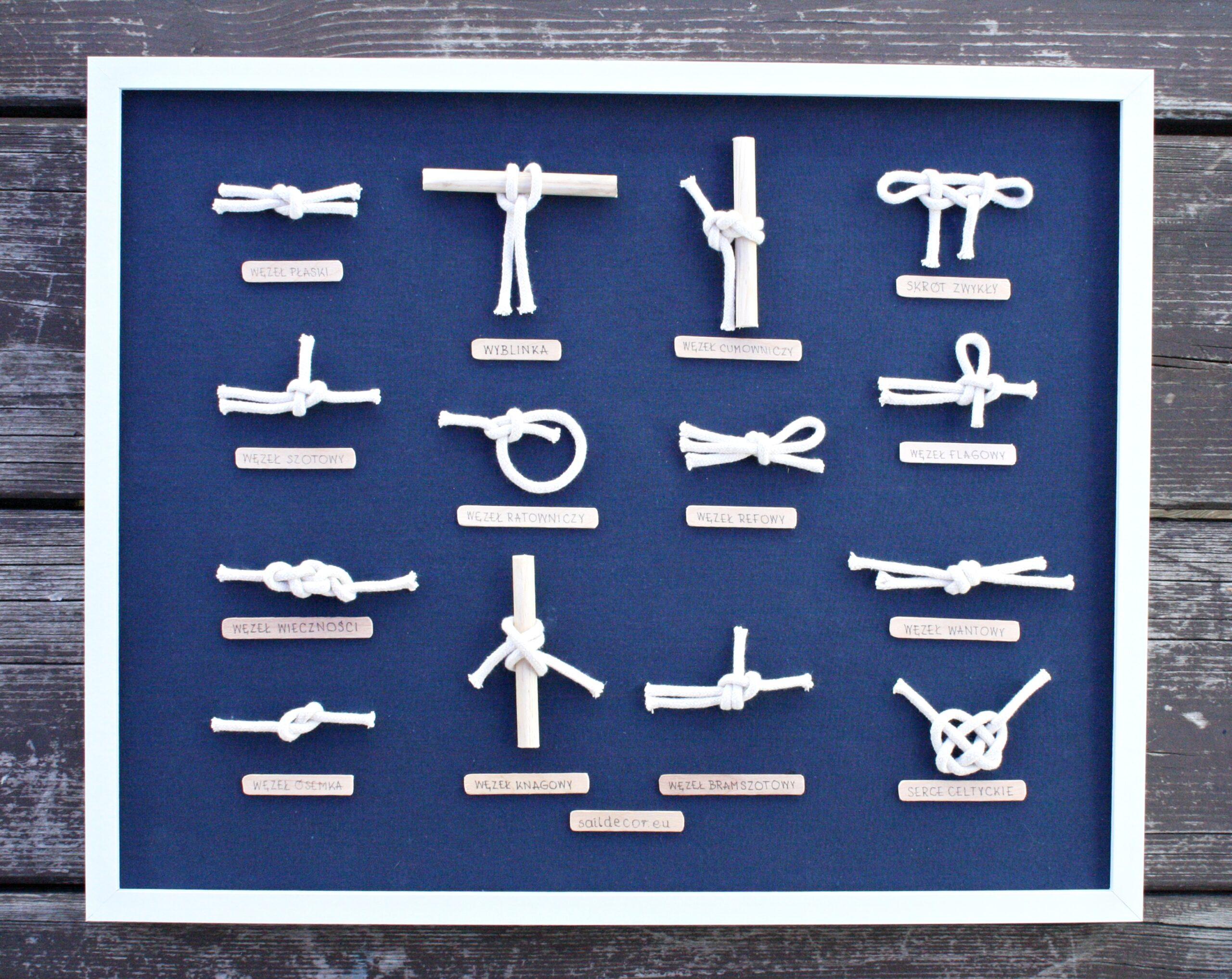 gablota tablica z węzłami żeglarskimi