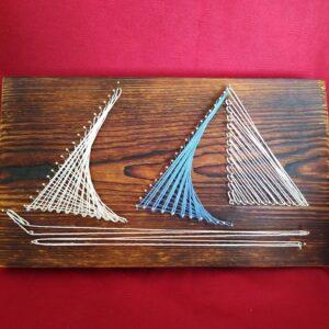 Żaglówka stiing art dekoracja morska