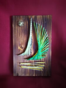 dekoracja marynistyczna żaglówka obraz morski string art